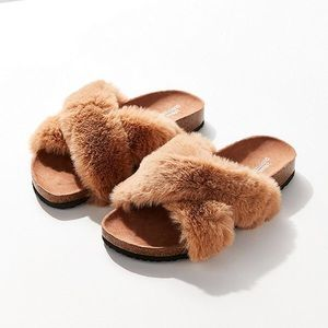Urban Outfitters Faux Fur Slides